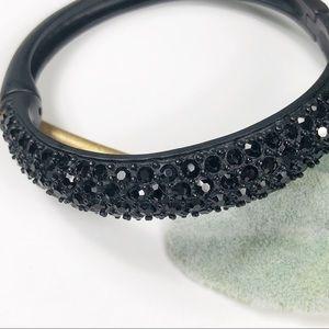 Jewelry - Matte Black Hinged Bangle Rhinestone